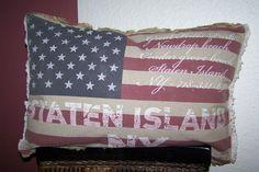 Mars & More Kissen inkl.Füllung Stars & Stripes Sterne USA Fahne Schrift Vintage