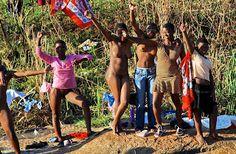 Naked african women bathing agree