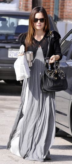 #RachelBilson wearing Ray-Ban Wayfarers in Tortoise and 3.1 Phillip Lim Edie Bow Studded Bag.