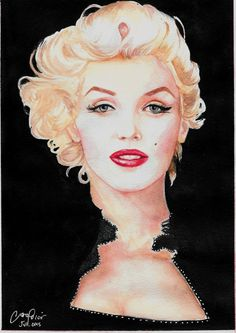 Marilyn Monroe portrait by Yara Morais Arts (on Etsy) / This image first pinned to Marilyn Monroe art board here: http://pinterest.com/fairbanksgrafix/marilyn-monroe-art/ #Art #MarilynMonroe