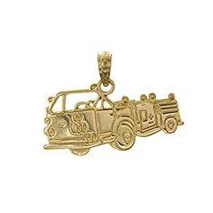 Amazon.com: 14k Yellow Gold Profession Charm Pendant, 2D Fire Truck, High Polish: Jewelry