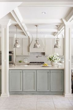 "I love the ceiling and pillars on this.  It would work well in my ""kitchen remodel"" plan, as I open my kitchen and expose headers."