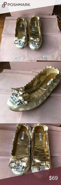 Miu Miu Jacquard Ornate Jeweled Ballet Flats Miu Miu Gold and White Jacquard Ornate Jeweled Ballet Flats  Worn twice Small scuff on right top toe  I am 7.5 so these are a bit snug.  These are size 37 so good for anyone with size 7/37 feet. Miu Miu Shoes Flats & Loafers