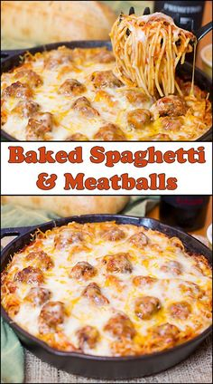 Baked Spaghetti & Meatballs is a perfect dish to cook up for a hungry family! It's hearty, delicious, easy to make, and budget friendly. Baked Spaghetti & Meatballs - 36 Comfort Foods for the Winter Baked Spaghetti And Meatballs, Spaghetti Sauce, Spaghetti Noodles, Easy Baked Spaghetti, Spaghetti Bake Recipe Easy, Baked Spaghetti Recipes, Spagetti And Meatball Recipe, Spaghetti Dinner, Spaghetti Casserole