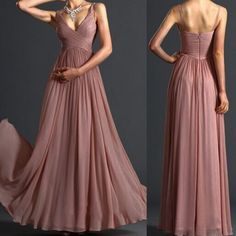 Sexy Spaghetti Strap Sleeveless Solid Color Chiffon Women's Maxi Dress (PINK,L) in Maxi Dresses | DressLily.com