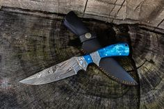 Inch Custom Handmade Forged Damascus Steel Hunting Bowie Knife Fixed Blade Blue Camel Bone Handle With Leather Sheath Full Tang Damascus Blade, Damascus Knife, Damascus Steel, Trench Knife, Hard Metal, Metal Work, Handmade Knives, Knife Sharpening, Custom Knives