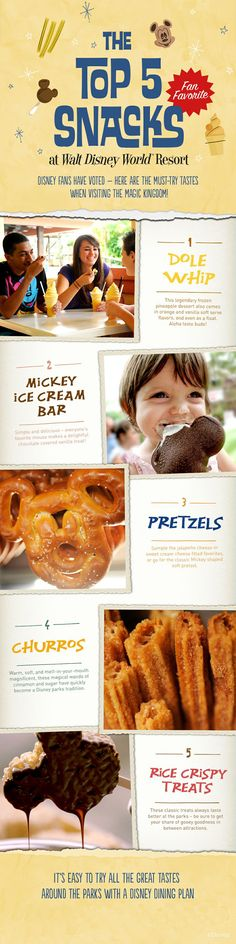 From delicious Dole Whips to Mickey-shaped soft pretzels, having a Disney Dining Plan makes it easy to try all these great tastes from around the Walt Disney World Resort!