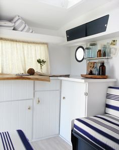 """Love how clean and crisp this renovation caravan is """"Frankie"""" after"""