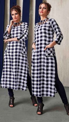Super skirt white and black simple 29 Ideas Printed Kurti Designs, Simple Kurti Designs, Kurta Designs Women, Salwar Designs, Neck Designs For Suits, Neckline Designs, Dress Neck Designs, Blouse Designs, Long Kurti Patterns