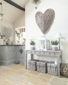 The wicker sits perfectly with the grey units.The limestone floor brings warmth. Accessories from West Barn Interiors online. - April 13 2019 at Interior Design Courses Online, Interior Design Programs, Country Kitchen Accessories, Home Accessories, Kitchen Country, Limestone Flooring, Home And Deco, Kitchen Flooring, Country Decor