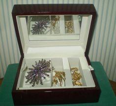 624g 5x3x2 Rectangular Fossils Ammonite Red Jewelry Box Morocco