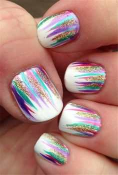 Simple and Easy Ombre Waterfall Nails Ideas – Styles Art - Der Modischste Nagellack Easy Nails, Simple Nails, Cute Nails, Pretty Nails, Kid Nails, Cute Nail Art Designs, Nail Designs For Kids, Clear Nail Designs, Shellac Nail Designs