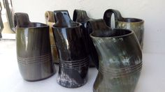 SET OF 6 Norwegian Viking Drinking Horn Mug cup for beer, wine, mead, pagan, ale