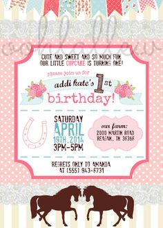 Shabby Chic Horse Birthday Party Invitation by OohLaLlew on Etsy, $1.50