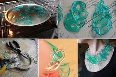 DIY jewelry made from melted plastic cups (I would make them smaller and not use them all collectively :P)