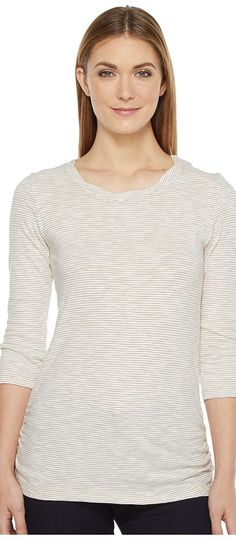 Mod-o-doc Slub Twisted Scoop Neck Side Shirred Tee (Flax) Women's T Shirt - Mod-o-doc, Slub Twisted Scoop Neck Side Shirred Tee, 415-72008, Apparel Top Shirt, T Shirt, Top, Apparel, Clothes Clothing, Gift, - Fashion Ideas To Inspire