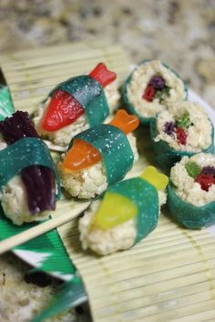 """Candy Sushi! Swedish fish, Fruit roll ups, Twizzlers, Rice Krispie treats! Delicious and really cute!"" So adorable!"
