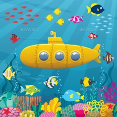 Zoomie Kids Felecia Yellow Submarine Coral Reef With Colorful Fish Ocean Life Marine Creatures Tropic Kid Shower Curtain Size: W x H Festa Yellow Submarine, Submarine Craft, Submarine Quotes, Submarine Movie, Submarine Sandwich, Midget Submarine, Drawing For Kids, Art For Kids, Submarine Drawing