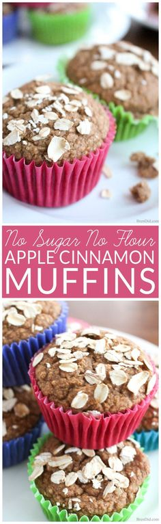 Healthy Oatmeal Muffins - Most muffins = junk food! These sound delicious plus the contain no sugar no oil & no flour. Easy Apple Cinnamon Muffin recipe sweetened with dates. Your family will enjoy the muffins and you will enjoy serving a healt Healthy Apple Cinnamon Muffins, Healthy Breakfast Muffins, Cinnamon Oatmeal, Healthy Muffin Recipes, Healthy Baking, Healthy Treats, Apple Breakfast, Healthy Cake, Cinnamon Rolls