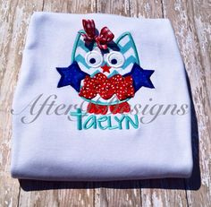 Girl patriotic owl with bow applique shirt 4th by AfterNineDesigns, $23.00