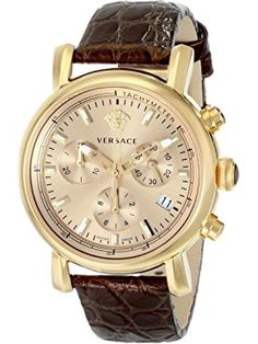 Versace Women's VLB070014 Day Glam Gold-Tone Stainless Steel Watch With Brown Leather Band ❤ Versace
