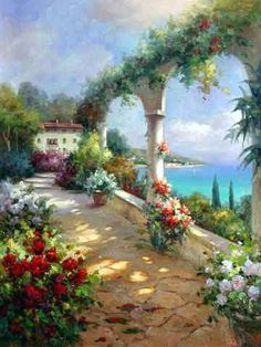 Mediterranean Garden oil painting,Oil Painting On Canvas Hand Painted Oil Garden Painting, Oil Painting On Canvas, Garden Art, Oil Paintings, Summer Landscape, Beautiful Paintings, Oeuvre D'art, Love Art, Painting Inspiration