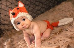 Lowestbest Cute Baby Infant Fox Beetle Deer Frog Peas Hat Cap Costume Crochet Knit Photo Prop Photography 0-12 Month Newborn Pink (Fox)