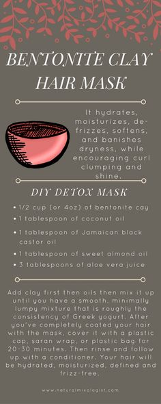 Detox your with a Bentonite Clay hair mask How to make a DIY bentonite clay mask for your hair Natural Hair Tips, Natural Hair Journey, Natural Hair Styles, Natural Beauty, Going Natural, Natural Women, Argile Bentonite, Clay Hair Mask, Bentonite Clay Mask Hair