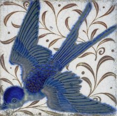 Swallow tile by William de Morgan. William de Morgan was a lifelong friend of William Morris, he designed tiles, stained glass and furniture for Morris & Co. from 1863 to 1872 Arts And Crafts Movement, William Morris, Art Chinois, Stoff Design, Art Nouveau Tiles, Art Japonais, Decorative Tile, Tile Art, Chinoiserie
