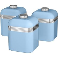 Swan Swan Retro Set Of 3 Cannisters ($39) ❤ liked on Polyvore featuring home, kitchen & dining, food storage containers, tea canister, storage canisters, tea storage canisters, tea cannister and sugar canister