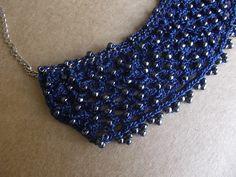 Colar de Crochê Azul   Linhares Bijuterias e Artesanatos   Elo7