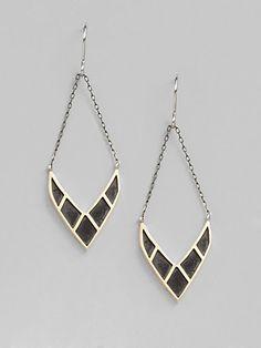 Elizabeth and James - Sterling Silver Chevron Earrings - Saks.com