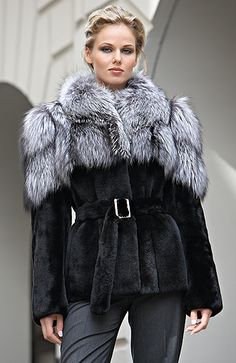 Black sheared mink jacket with silver fox collar and shoulders: smart chic!