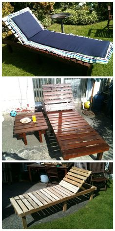 Had numerous screws couple of carriage bolts and the idea from Goa India and the sun loungers they have in use. 3 lengths of reclaimed 3x2 inch timber . My wife made the cover and its a loved piece of garden furniture at no cost after getting Pallets for free. Idea sent by Darren P !…