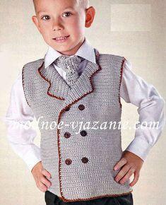 Выкройка и детальное руководство вязания спицами двубортного жилета и галстука для мальчика