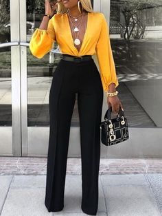 Full Length Patchwork Color Block Western High Waist Women's Jumpsuit The Effective Pictures We Offer You About Jumpsuit dressy A quality picture can tell you many things. Mode Outfits, Fall Outfits, Fashion Outfits, Fashion Pants, Womens Fashion, Ladies Fashion, Summer Outfits, Fashion Sandals, Fashion 2018