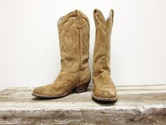 Frye Cowboy Boots Tan Suede Vintage 70's by highclasshillbilly, $148.00
