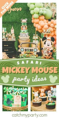 Don't miss this awesome Mickey Mouse Safari birthday party! The cupcakes are fantastic! See more party ideas and share yours at CatchMyParty.com