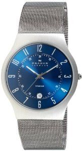 Skagen Men's Titanium Blue Dial Watch - silver - Size: One Size Fits All (Stainless Steel) Titanium Blue, Titanium Watches, Dream Watches, Luxury Watches, Cool Watches, Wrist Watches, Unique Watches, Watches For Young Men, Zapatos