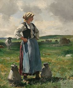 milkmaid in Normandy – Julien Dupré (French painter, Classic Paintings, Paintings I Love, Animal Painter, Barbizon School, Beaux Arts Paris, Double Exposition, Traditional Paintings, French Artists, Art Plastique