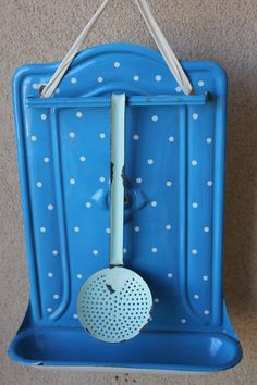Enamel French utensil rack, French vintage