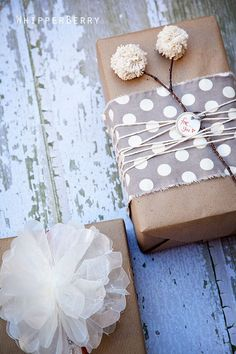 Pom Pom and Wax Paper Bow Gift Wrap - make your own gift wrap