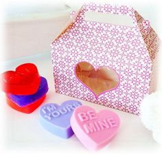 VALENTINE'S DAY Candy Hearts Soap Gift Set  5 by crimsonhill, $18.50