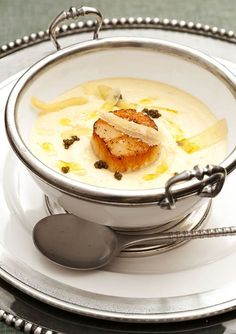 Roasted Cauliflower Soup with Sea Scallops and Caviar (Traditional Home Magazine)