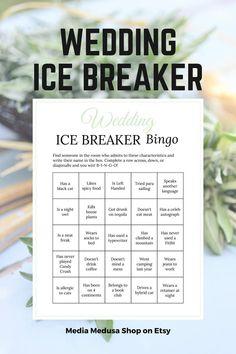 Bridal Shower Ice Breaker Game Sage Wedding Printable Human image 3 Ice Breaker Bingo, Human Bingo, Wedding Party Games, Wedding Printable, Sage Wedding, Ice Breakers, Bingo Cards, Getting To Know You, Folded Cards