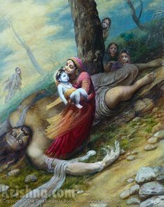 Trinavarta thought Krishna to be like a mountain & he tried to throw Him down. With Krishna grasping his throat, the demon choked. His eyes popping out, Trinavarta lost his life and fell to the ground. The gopis picked up Krishna from the demons chest, and delivered Him, unharmed, to Mother Yasoda. Everyone was very happy.  Artwork [Krishna Kills Trnavarta] courtesy of The Bhaktivedanta Book Trust International, Inc. (www.krishna.com) Used with permission.