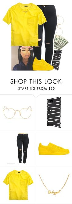 """""""Im so Wavy🌊"""" by xtiairax ❤ liked on Polyvore featuring Ray-Ban, adidas Originals and J.Crew"""