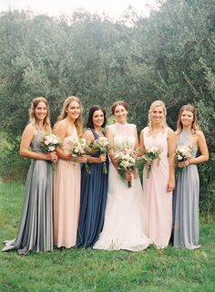 mix and match long bridesmaid dresses in shades of grey blue and blush pink