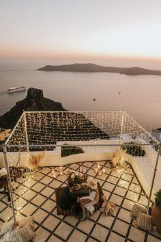 valaisvilla-santorini-elopement-_3 Beautiful Sunset, Beautiful Beaches, Imerovigli Santorini, Tiny Balcony, Santorini Wedding, Civil Wedding, Wedding Mood Board, Fairy Lights, Wedding Venues