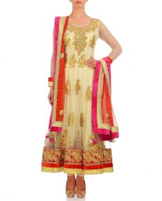Offwhite long anarkali suit with Gotta work – Panache Haute Couture